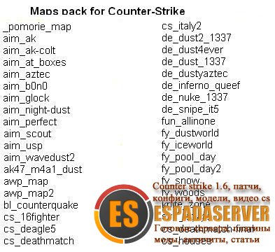 Maps pack for Counter-Strike