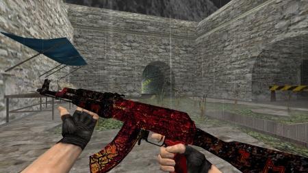 Модель HD AK-47 «Armagedon» с анимацией осмотра для CS 1.6